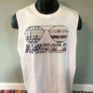 America Tank Top Sun Glasses City View USA Cut Off